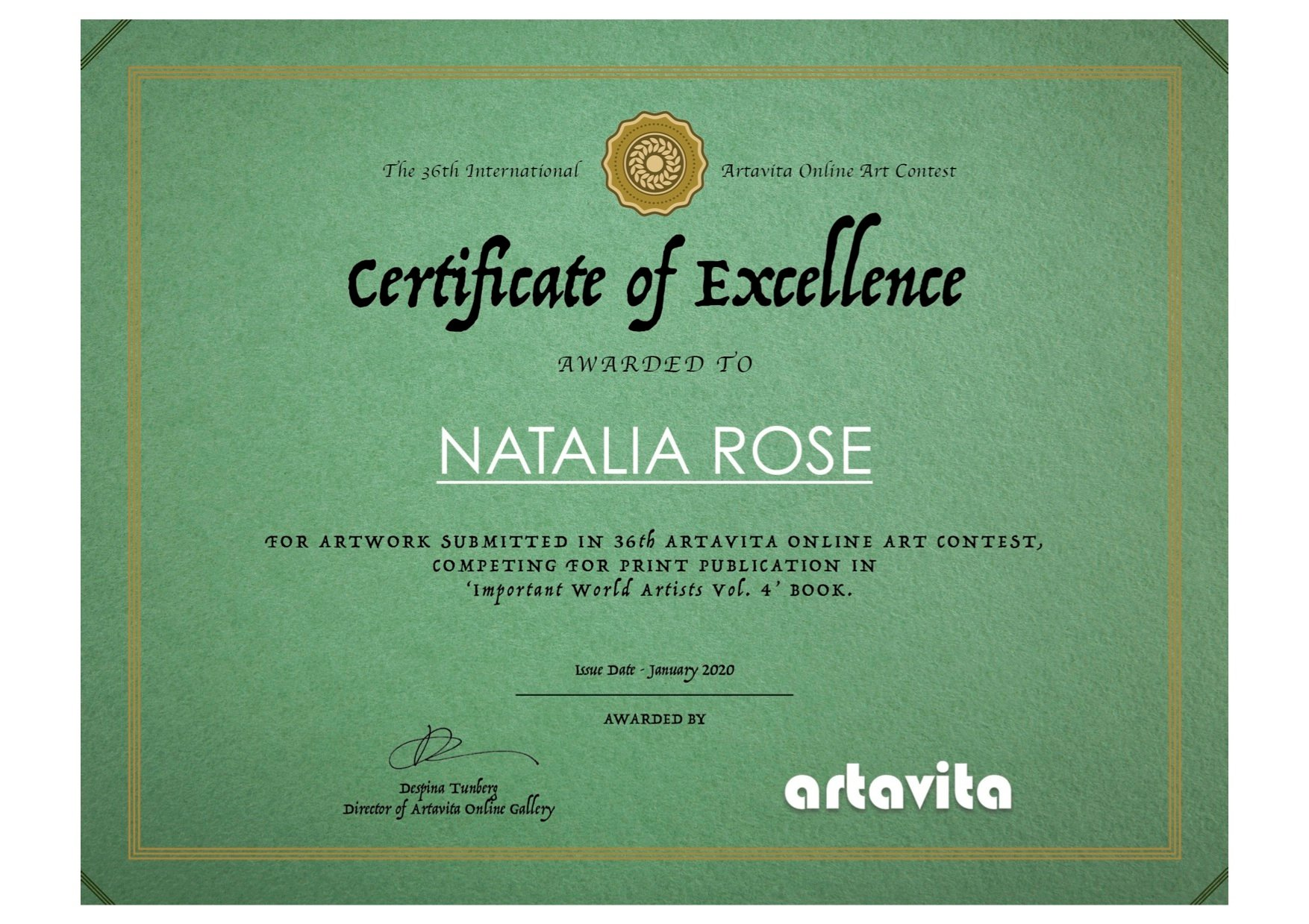 Artavita Contest 36 Finalist Certification - Natalia Rose